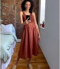 lou & grey belted linen midi pocket skirt