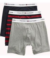 tommy hilfiger men's cotton boxer brief 3pk navy/red stripe/grey - xl