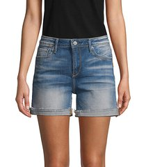 side-stripe denim shorts
