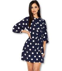 ax paris polka dot wrap mini dress with tie front