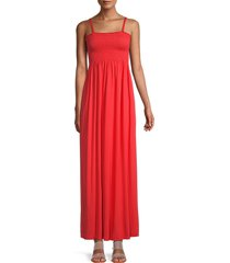 michael stars women's sally shirred maxi dress - red - size l