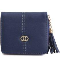 billetera mujer con adorno color azul, talla uni