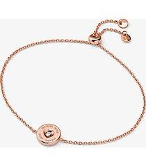 mk braccialetto in argento sterling placcato oro rosa 14k con diamante sintetico cuore e logo - oro rosa (oro rosa) - michael kors
