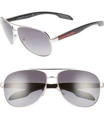 women's prada 62mm oversize polarized aviator sunglasses - silver/ grey gradient