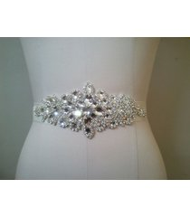 white bridal wedding dresses rhinestone vintage beaded crystal sash belt new