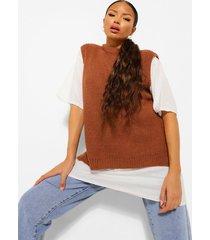 tall oversized gebreid hemd, camel