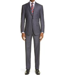 canali siena soft classic fit wool suit, size 48 us in dark purple at nordstrom