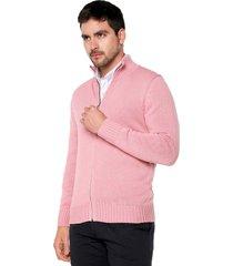 sweater rosado 22 preppy m/l c/alto abierto cremallera tej medio