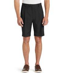jos. a. bank men's traveler performance pleat front traditional fit comfort waist shorts clearance, black, 30 regular