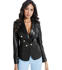 chaqueta ls ziza faux leather jacket negro guess