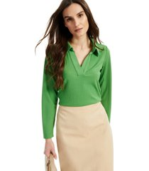 alfani petite collared ribbed knit top, created for macy's