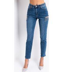 akira camila high waisted rhinestone slit jeans