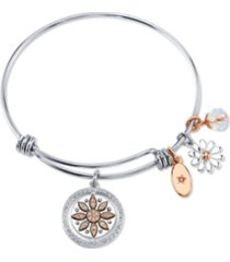 "unwritten ""live laugh love"" flower bangle bracelet in stainless steel & rose gold-tone with silver plated charms"