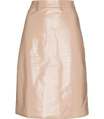 dodo bar or crocodile-embossed pencil skirt - neutrals