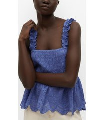 mango women's broderie anglaise panel top