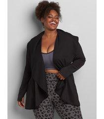 lane bryant women's livi scuba overpiece jacket 10/12 black