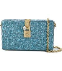 dolce & gabbana box rhinestone embellished clutch - blue