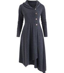 hooded asymmetrical longline button up coat