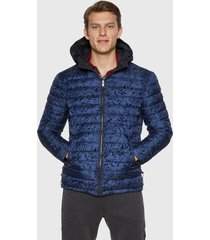 chaqueta desigual reversible azul - calce regular