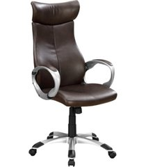 monarch specialties leather finish office high back chair in brown