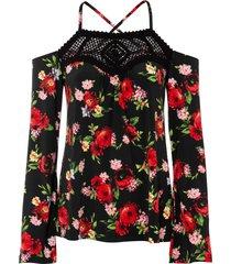 maglia con cut-out e inserto di pizzo a uncinetto (nero) - bodyflirt boutique