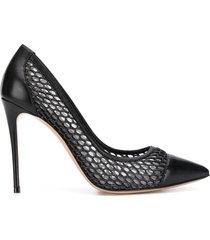 casadei toe-cap mesh pumps - black