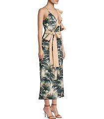 palm print asymmetrical ruffle jumpsuit