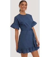 trendyol belted carmen mini dress - blue