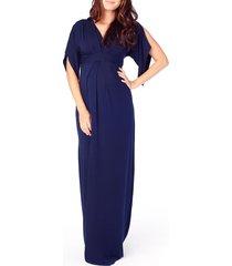women's ingrid & isabel split sleeve maternity maxi dress, size large - blue