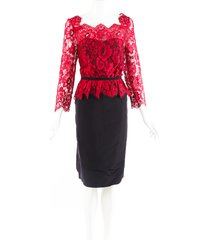 carolina herrera red black lace satin dress black/red/floral print sz: xl