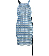 jil sander striped knit halterneck tunic - blue