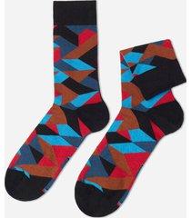 calzedonia classic patterned ankle socks man black size tu