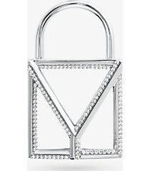 mk ciondolo a lucchetto mercer oversize in argento sterling placcato in metallo prezioso con pavé - argento (argento) - michael kors