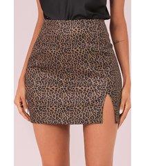 camel slit diseño falda de leopardo de cintura media