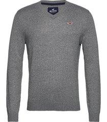 hco. guys sweaters stickad tröja v-krage grå hollister