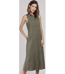 vestido chemise feminino midi sem manga verde militar