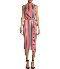 delora sleeveless tie waist stripe dress
