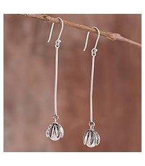 cultured pearl filigree dangle earrings, 'tulip glow' (peru)