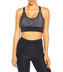 marika women's brooklyn printed sports bra - balsam grey - size m