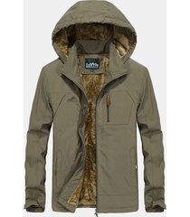 giacca da uomo in pile di cotone impermeabile antivento con cappuccio