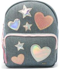 mochila azad jeans corações estrelas rosa