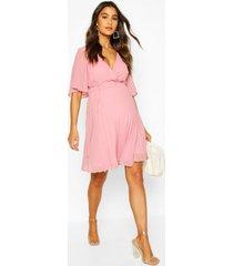 maternity pleated wrap midi skater dress, blush