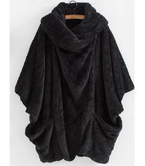 shawl collar dolman plush coat