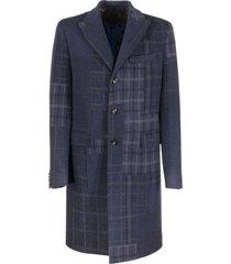 etro check patchwork wool overcoat