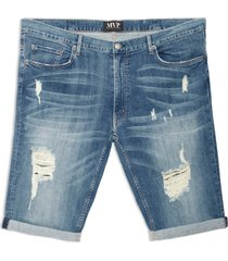 men's big & tall mvp collections ripped roll cuff denim shorts, size 56 - blue