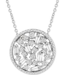 "diamond openwork disc 18"" pendant necklace (1/2 ct. t.w.) in 10k white gold"
