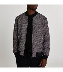river island mens black geometric bomber jacket