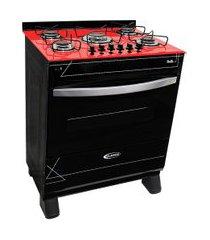 fogão a gás 5 bocas clarice veritá preto com mesa vermelha bivolt