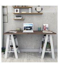 mesa escrivaninha self nogueira e branco appunto móveis
