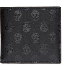 biker skull print leather bifold wallet
